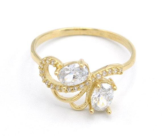 e4ad41c2e Zlatý prsten se zirkony a bílými kameny 2,05g | Zlaté šperky ...