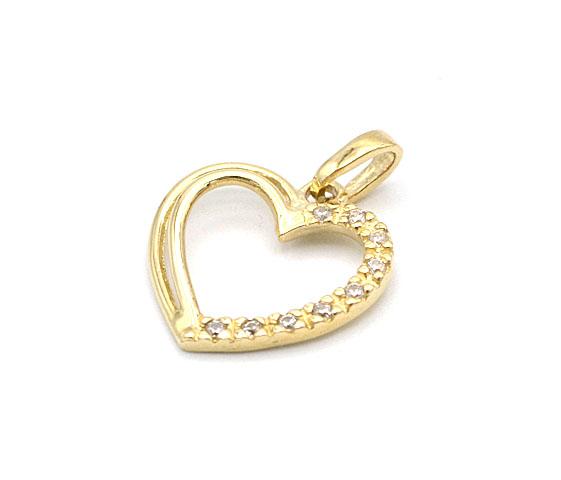 d804c900d Zlatý přívěsek, srdce se zirkony 1,30g | Zlaté šperky, prsteny ...