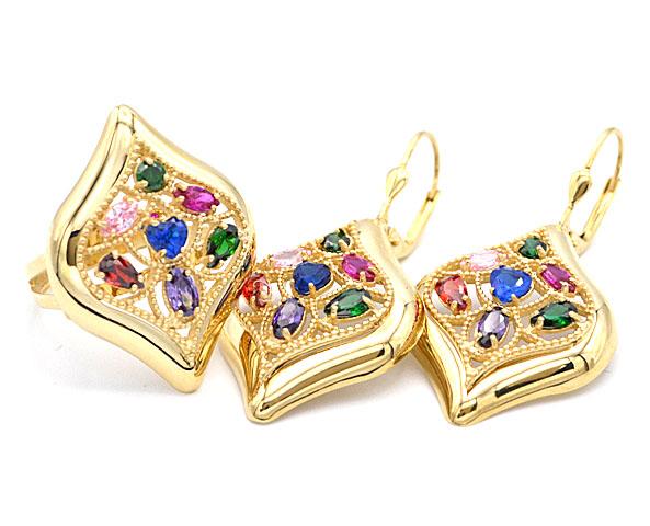 dba862e4d Zlatá souprava s barevnými kamínky prsten a náušnice 13,35g | Zlaté ...