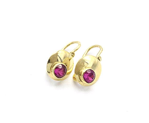 69e7f0d70 Zlaté dětské náušnice s červeným kamenem 1,65g   Zlaté šperky ...