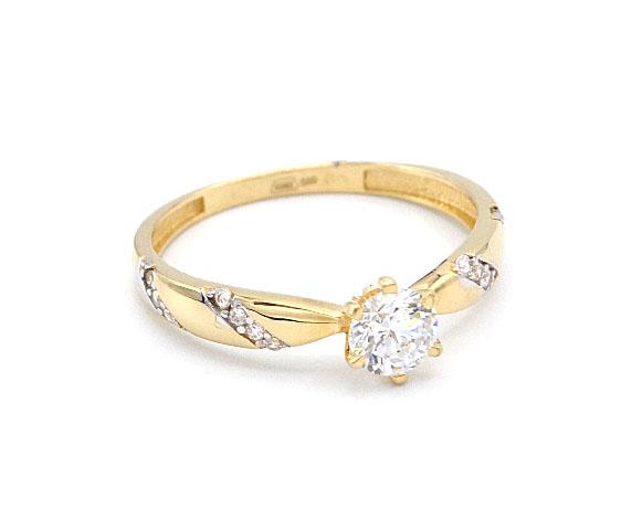 bc84ce9a6 Zlatý prsten se zirkonem a proužky zirkonů 1,60g | Zlaté šperky ...