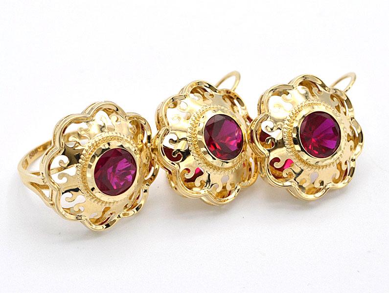6eb11ad79 Zlatá souprava s červeným kamenem prsten a náušnice