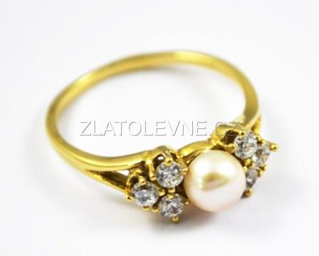 Zlatý prsten s perlou a zirkony 2 f982fe2f7d0