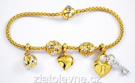 23eecbdf3 Zlatý náramek dámský typu Pandora 10,90g | Zlaté šperky, prsteny ...
